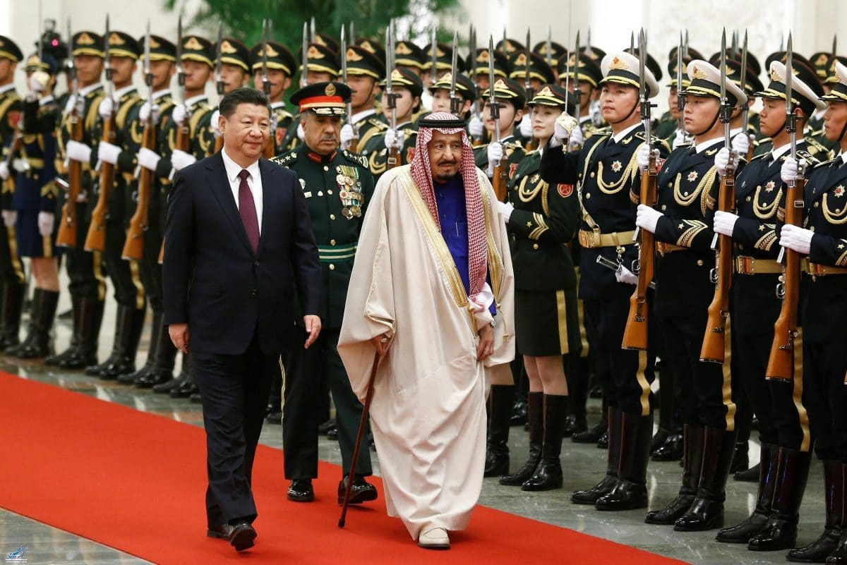 China's President Xi Jinping and Saudi King Salman bin Abdulaziz Al-Saud attend a welcoming ceremony at the Great Hall of the People in Beijing